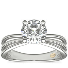 ZAC Zac Posen Triple Band Solitaire Diamond Engagement Ring in Platinum